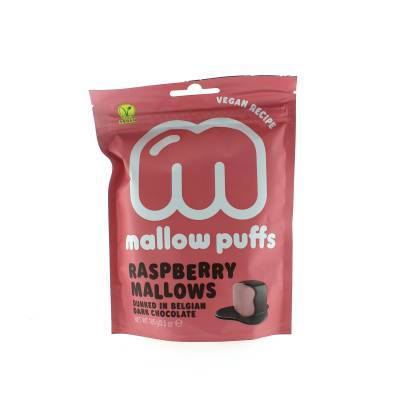 9150 - Mallow Puffs raspberry mallows dark chocolate 100 gram