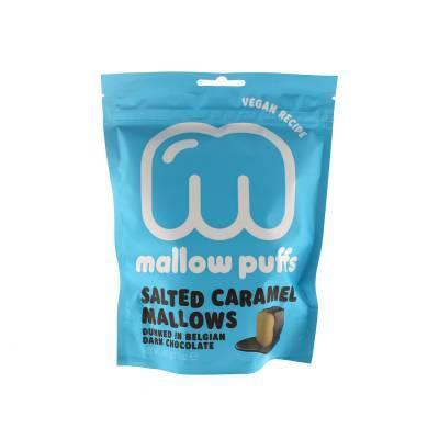 9151 - Mallow Puffs salted caramel mallows dark chocolate 100 gram