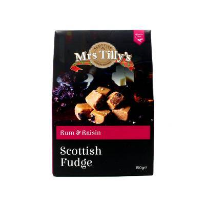 20801 - Mrs Tilly's rum & raisin fudge gift box 150 gram
