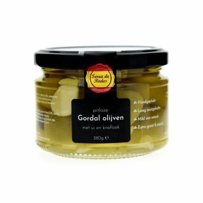 19781 - Serra de Rodes pitloze gordal olijven met ui & knoflook 280 gram