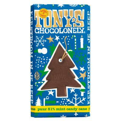 90077 - Tony's Chocolonely kerstreep puur candy cane 180 gram