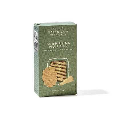 6754 - Verduijn's Fine Biscuits parmesan wafers with basil and garlic 75 gram