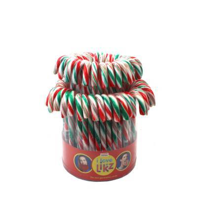 1495 - I love Likz candy canes groen/wit/rood 72 st. gram