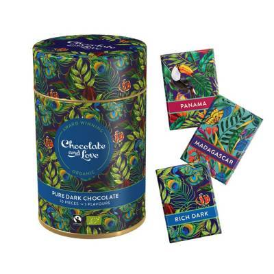 17060 - Chocolate and Love cadeaublik minireepjes dark/mandagascar/ 165 gram