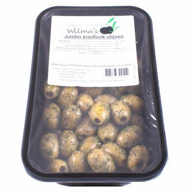 18053 - Wilma's Olijven jumbo knoflook olijven 800 gram