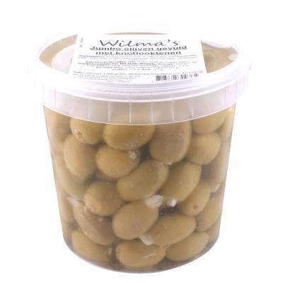 18105 - Wilma's Olijven jumbo olijven gevuld met knoflook 1100 gram