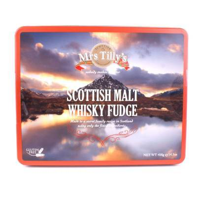 20805 - Mrs Tilly's malt whisky fudge gift tin 400 gram