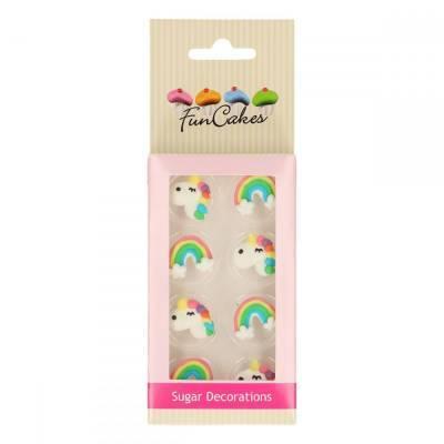 6876 - FunCakes suikerdecoratie eenhoorn & regenboog 8 stuks