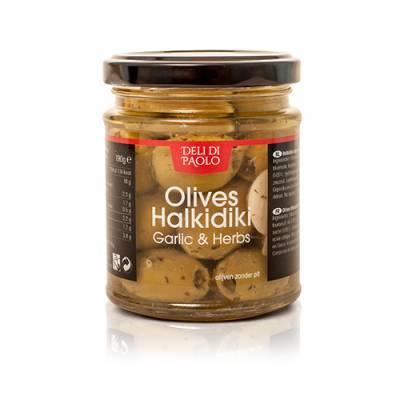 7868 - Deli Di Paolo groene olijven knofl & kruiden 190 gram
