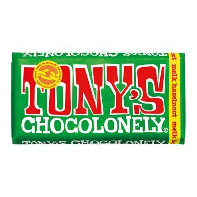 90001 - Tony's Chocolonely reep melk hazelnoot 180 gram