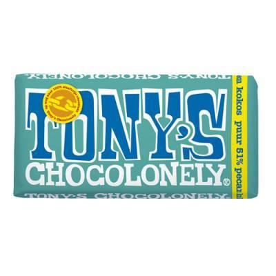 90006 - Tony's Chocolonely reep puur pecan kokos 180 gram