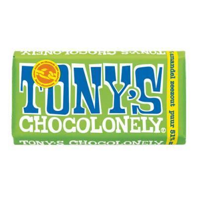 90007 - Tony's Chocolonely reep puur amandel zeezout 180 gram