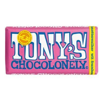 90009 - Tony's Chocolonely reep wit framboos met knettersuiker 180 gram