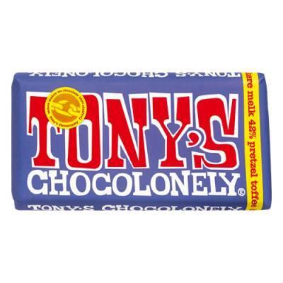 90011 - Tony's Chocolonely reep donkere melk pretzel toffee 180 gram