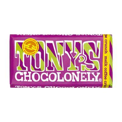90022 - Tony's Chocolonely reep melk coffee crunch 180 gram