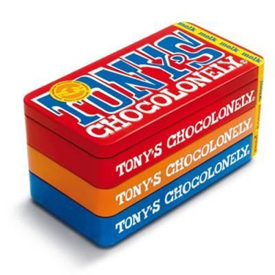 90060 - Tony's Chocolonely stapelblik met 3 repen 1 stuk