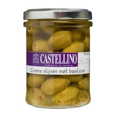 9819 - Castellino groene olijven met basilicum 180 gr
